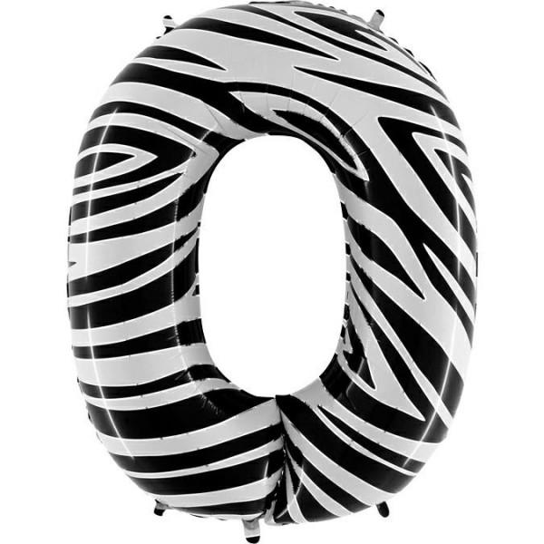 """Folienballon Zahl Zebra 100cm/40"""""""