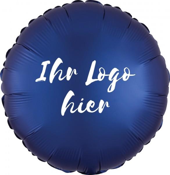 """Folien-Werbeballon Rund Satin Luxe Navy 45cm/18"""" 1-Seitig bedruckt"""