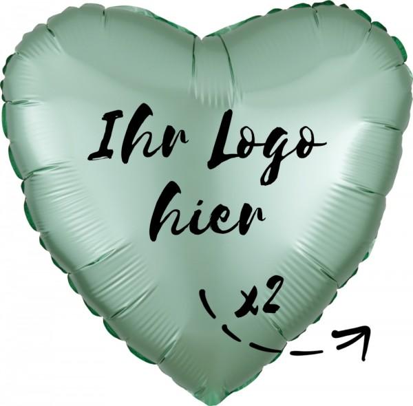 """Folien-Werbeballon Herz Lilac Luxe Mint Green 45cm/18"""" 2-Seitig bedruckt"""