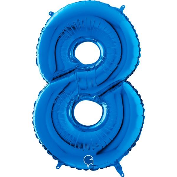 "Grabo Folienballon Zahl 8 Blue 66cm/26"""