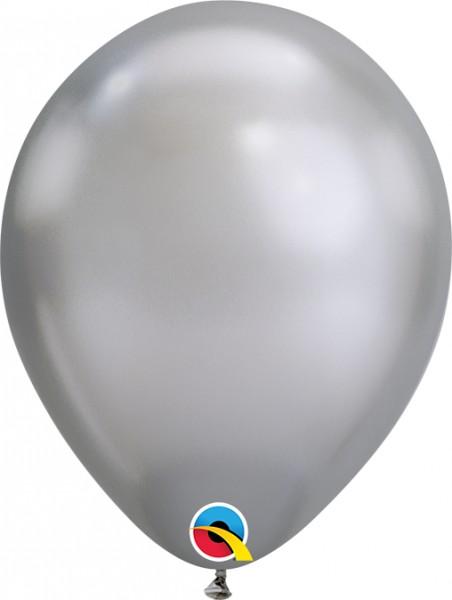 "Qualatex Latexballon Chrome Silver 18cm/7"" 100 Stück"