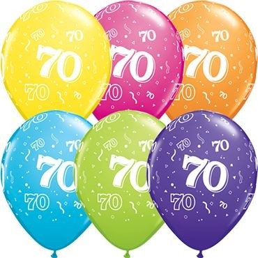 "Qualatex Latexballon Age 70 Retail Sortiment 28cm/11"" 6 Stück"