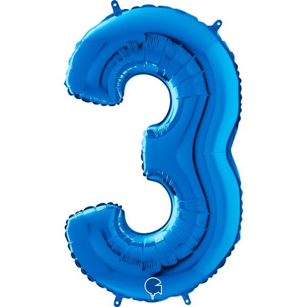 "Grabo Folienballon Zahl 3 Blue 66cm/26"""