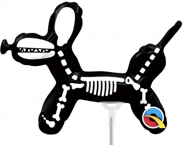 "Qualatex Folienballon Dog Skeleton 35cm/14"" luftgefüllt mit Stab"