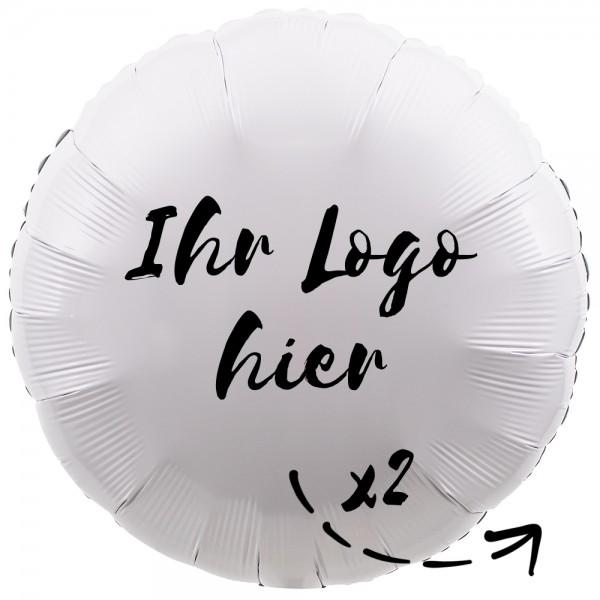 """Folien-Werbeballon Rund Metallic White 45cm/18"""" 2-Seitig bedruckt"""