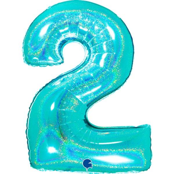 "Grabo Folienballon Zahl 2 Glitter Holographic Tiffany 100cm/40"""