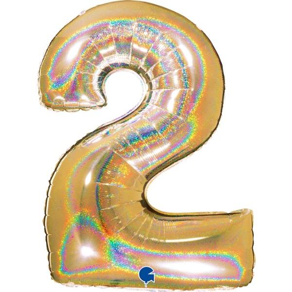 "Grabo Folienballon Zahl 2 Glitter Holographic Gold 100cm/40"""