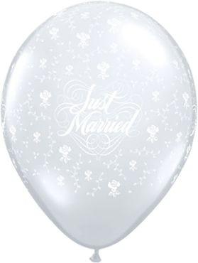 "Qualatex Latexballon Just Married Flowers 28cm/11"" 25 Stück"