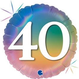 "Grabo Folienballon Happy 40 Colourful Rainbow 45cm/18"""