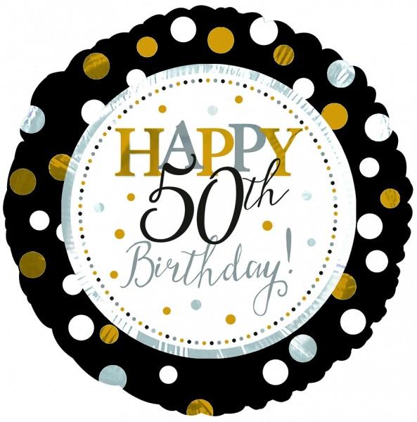 "CTI Folienballon 18"" Happy 50th Birthday Schwarz & Gold"