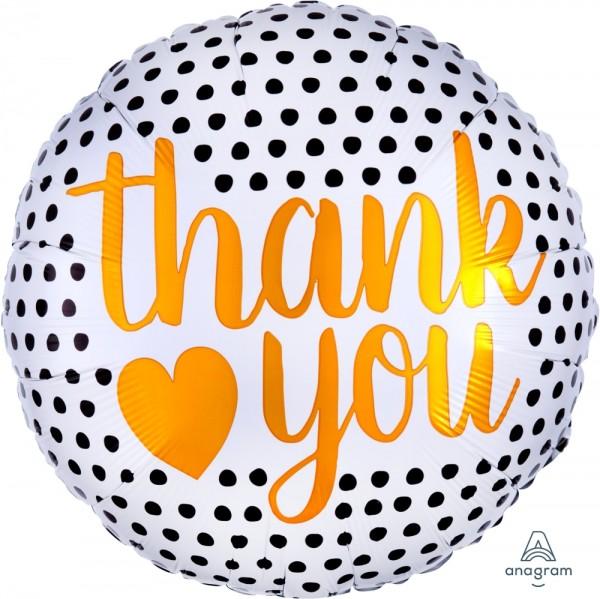 "Anagram Folienballon Rund ""Thank You"" Modern Dots 45cm/18"""
