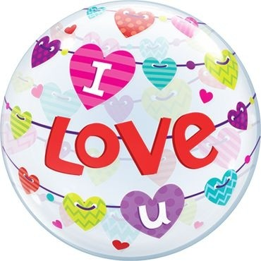 "Qualatex Bubbles I Love U Banner Hearts 55cm/22"""