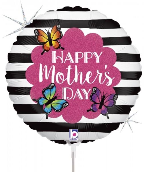 "Betallic Folienballon Radiant Butterfly Mom Glitter Holographic 23cm/9"" luftgefüllt inkl. Stab"
