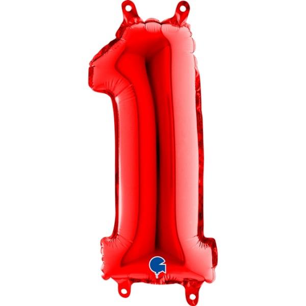 "Grabo Folienballon Zahl 1 Red 36cm/14"""