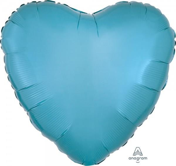 "Anagram Folienballon Herz Metallic Caribbean Blue 45cm/18"""