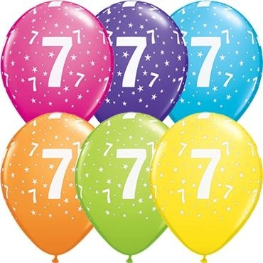 "Qualatex Latexballon Stars 7-A-Round Tropical Assortment 28cm/11"" 25 Stück"
