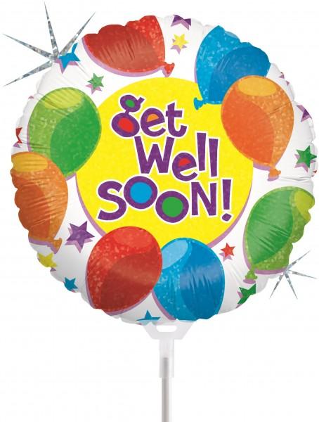 "Betallic Folienballon Balloons & Stars Get Well Holographic 23cm/9"" luftgefüllt mit Stab"