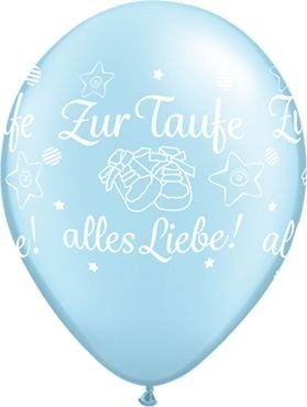 "Qualatex Latexballon Zur Taufe alles Liebe! Light Blue 28cm/11"" 25 Stück"