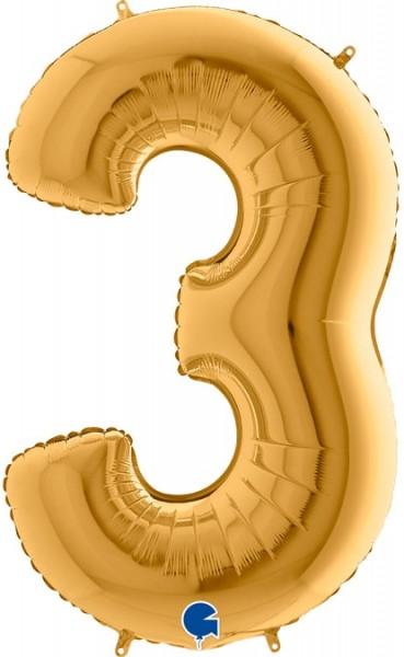 "Grabo Folienballon Zahl 3 Gold 100cm/40"""