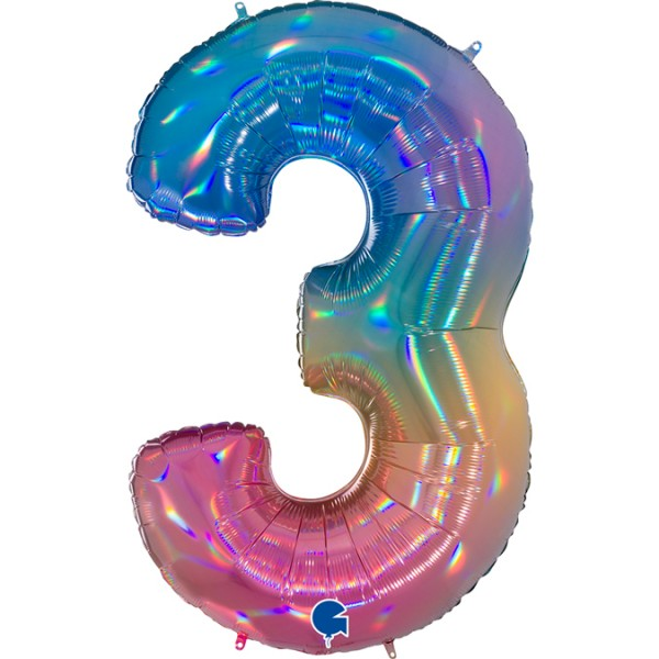 """Grabo Folienballon Zahl 3 Colourful Rainbow 100cm/40"""""""
