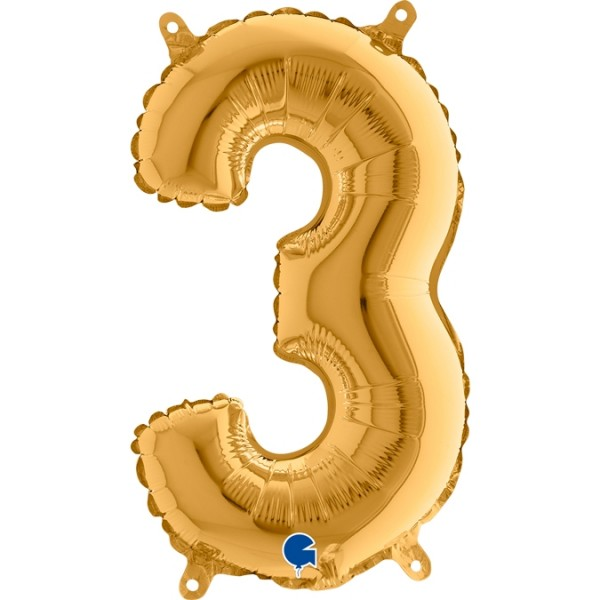 "Grabo Folienballon Zahl 3 Gold 36cm/14"""