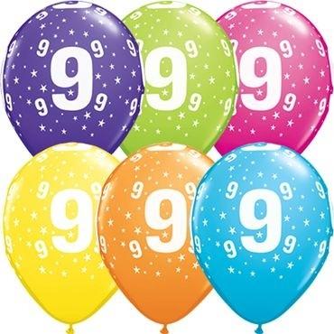 """Qualatex Latexballon Stars 9-A-Round Tropical Assorment 28cm/11"""" 25 Stück"""