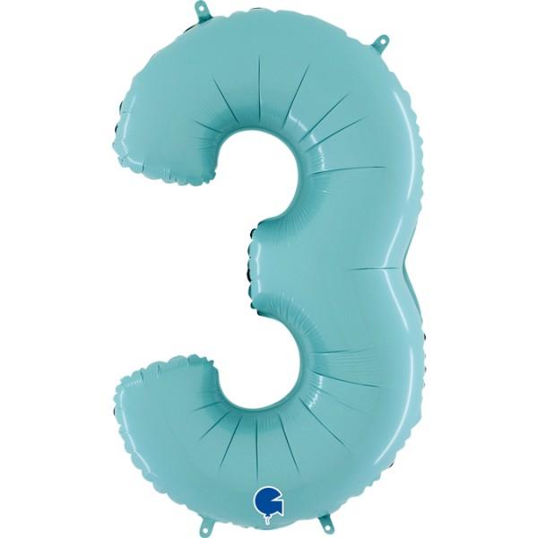 "Grabo Folienballon Zahl 3 Pastel Blue 66cm/26"""