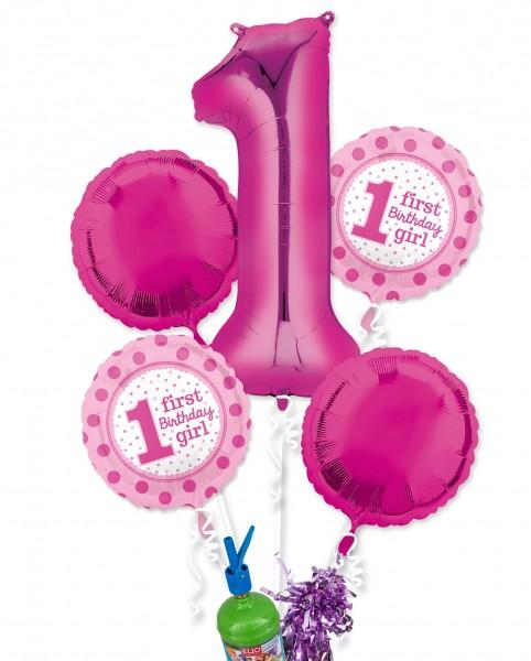 """Folienballon Helium Set """"1. Geburtstag Mädchen"""""""