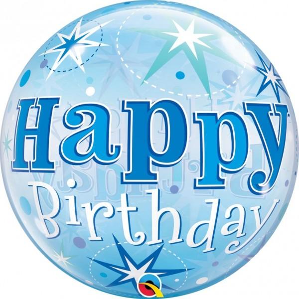 "Qualatex Bubbles Happy Birthday Blue Starburst Sparkle 55cm/22"""