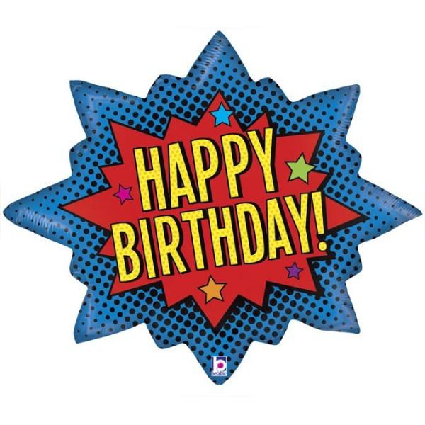 "Betallic Folienballon Super Hero Birthday Burst 81cm/32"""