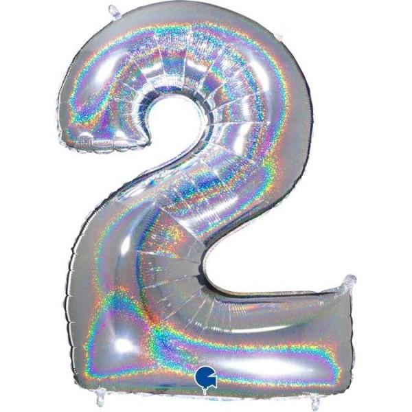 """Grabo Folienballon Zahl 2 Glitter Holographic Silver 100cm/40"""""""