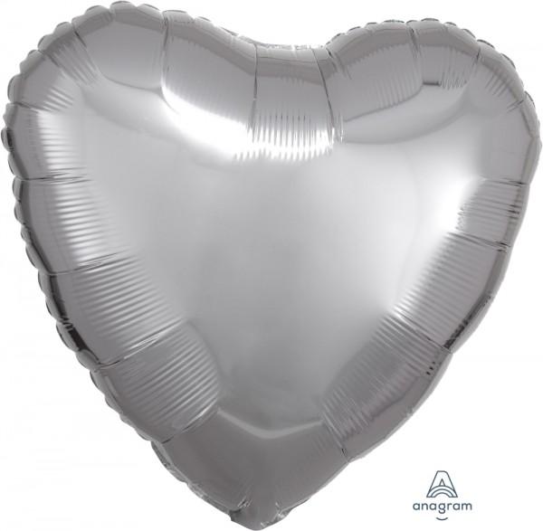 "Anagram Folienballon Herz Metallic Silver 45cm/18"""