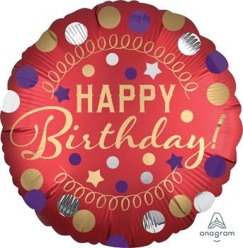 "Anagram Folienballon Rund 45cm Durchmesser ""Happy Birthday Tou You"" Satin Rot (Red)"