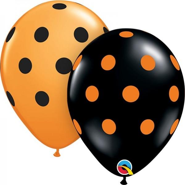 "Qualatex Latexballon Big Polka Dots-Orange & Onyx 28cm/11"" 25 Stück"