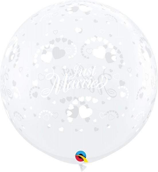 Qualatex Latexballon Just Married Hearts-A-Round Diamond Clear 90cm/3' 2 Stück