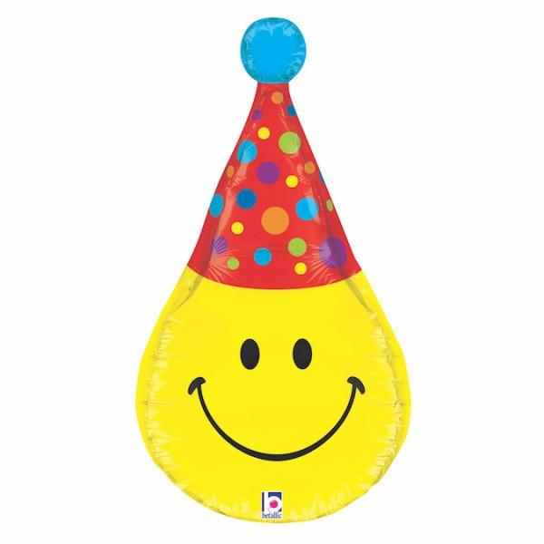 "Betallic Folienballon Smiley Party Hat 83cm/33"""