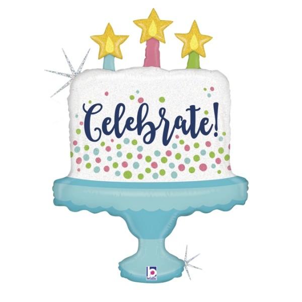 "Betallic Folienballon Glittering Celebrate! Cake Holographic 84cm/33"""