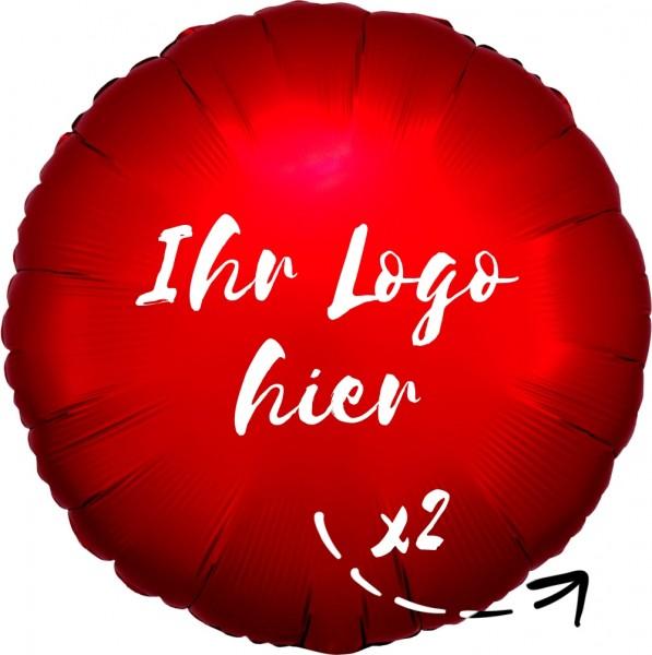 """Folien-Werbeballon Rund Satin Luxe Sangria 45cm/18"""" 2-Seitig bedruckt"""