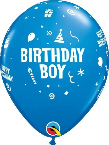 """Qualatex Latexballon Birthday Boy Blue 28cm/11"""" 6 Stück"""