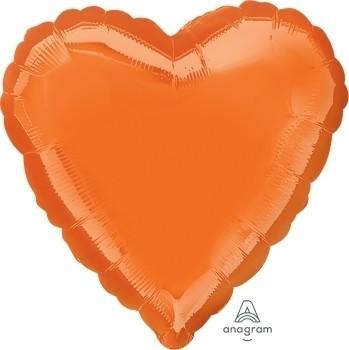 Anagram Folienballon Herz 45cm Durchmesser Metallic Orange