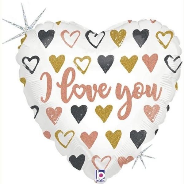 "Betallic Folienballon Rose Gold Heart Love You Glitter Holographic 91cm/36"""