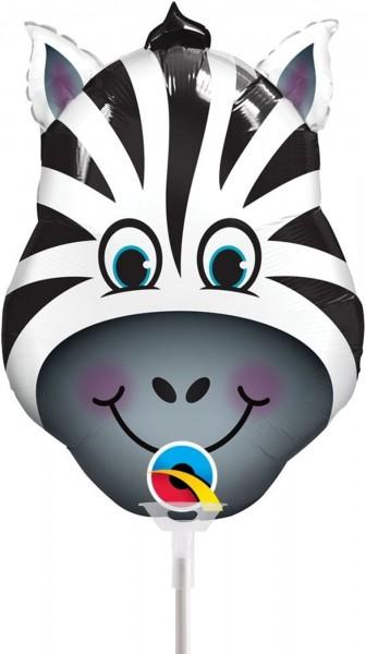 """Qualatex Folienballon Zany Zebra 36cm/14"""" luftgefüllt inkl. Stab"""