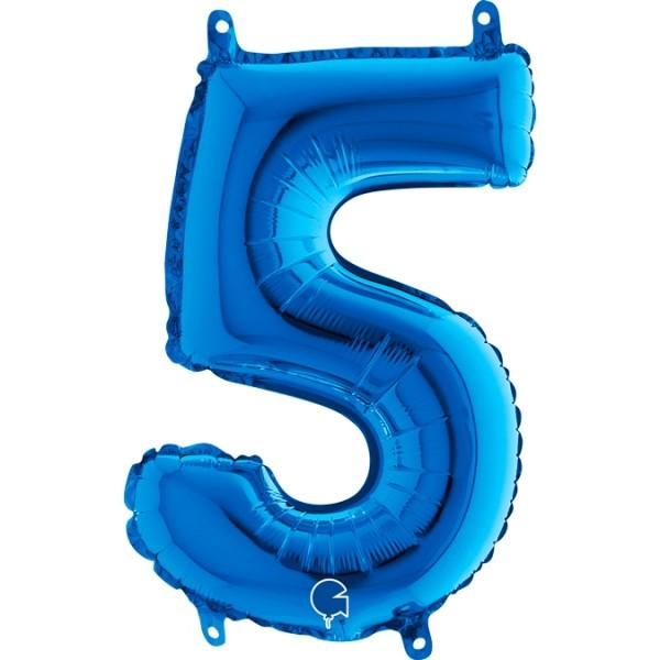 "Grabo Folienballon Zahl 5 Blue 35cm/14"""