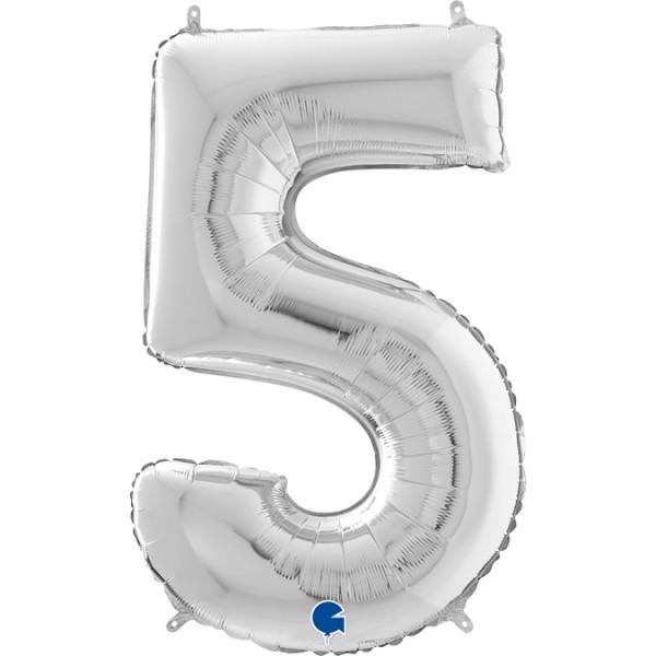"""Grabo Folienballon Zahl 5 Silver 66cm/26"""""""