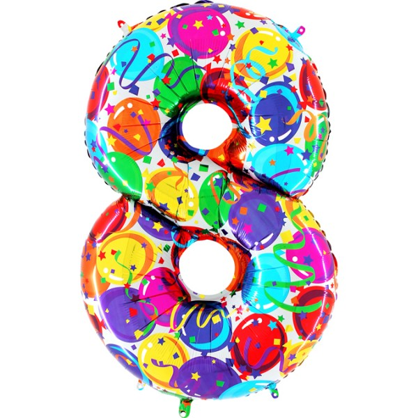 "Grabo Folienballon Zahl 8 Party 100cm/40"""