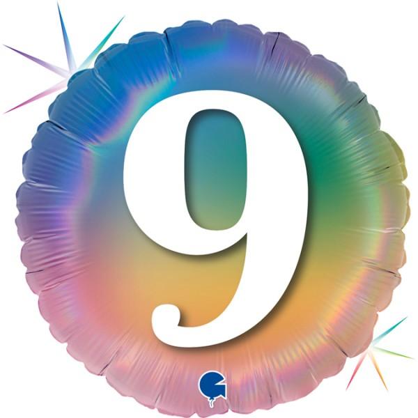 "Grabo Folienballon Zahl 9 Regenbogen Rund 45cm/18"""