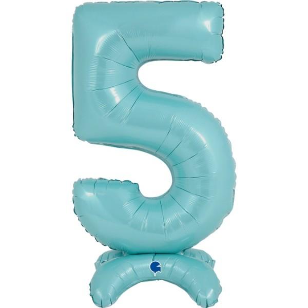 "Grabo Folienballon Zahl 5 Pastel Blue standups 64cm/25"""