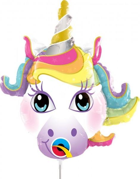 """Qualatex Folienballon Magical Unicorn 35cm/14"""" luftgefüllt mit Stab"""