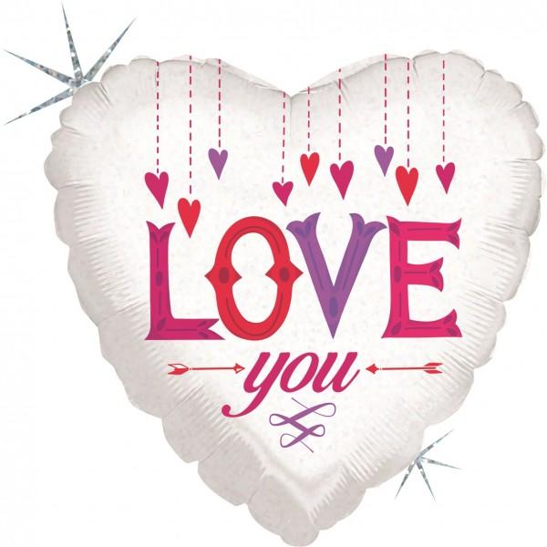 "Betallic FolienballonLove You Hanging Hearts 45cm/18"""