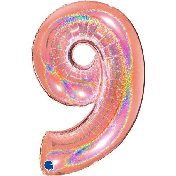 """Grabo Folienballon Zahl 9 Glitter Holographic Rose 100cm/40"""""""